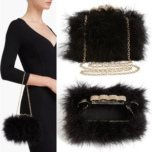 BCBG Marabou Feather Mini Chain Bag
